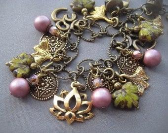 Lotus Jewelry - Ginkgo Leaf Jewelry - Om Jewelry - Leaf Bracelet - Lotus Bracelet - Namaste - Nature Jewelry - Yoga Jewelry - Friendship