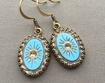 Sky Blue Earrings - Glass Earrings - Vintage Earrings - Sky Blue Jewelry - Intaglio Jewelry - Sunburst Earrings - Vintage Style Jewelry