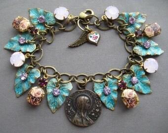 Charm Bracelet - Rosary Bracelet - Rose Bracelet - Virgin Mary - Rose Jewelry - Women Rosary - Religious Jewelry - Medieval Jewelry