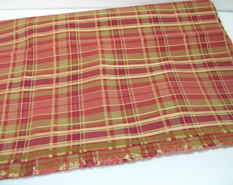Red Plaid Upholstery Fabric, 3/4 Yard