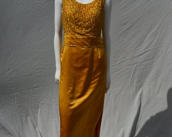 Vintage 60's gold silk embroidered dress sexy evening glam dress large size gown by thekaliman