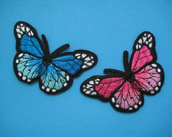 2 pcs Iron-on Embroidered Patch Butterfly (option: red, blue) 3 inch