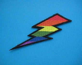 Iron-on Embroidered Patch Rainbow Lightning 3 inch