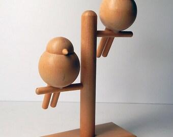Vintage WOOD BIRDS Modern Art Sculpture Aarikka Finland Wooden Desk Modernist