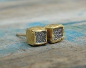 Rough Diamond Earrings - Diamond Earrings - RawDiamond Earrings - Gold Earrings - Gold Stud Earrings - Uncut Diamond Studs