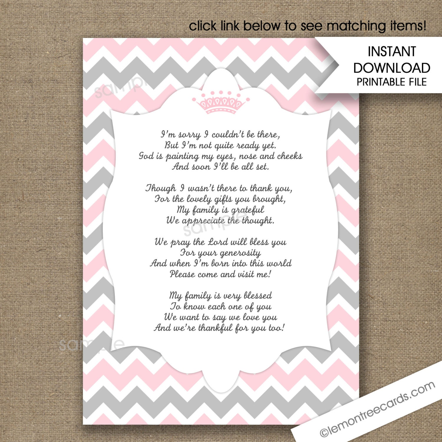 Pink Princess Crown Baby Shower Thank You Poem Notes INSTANT