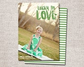 St. Patricks Day card, photo st patricks day card, printable st patricks day card, modern st patricks day card (Lucky in Love)