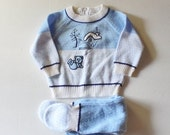 BLOWOUT 40% off sale Vintage 80s Blue Bear Sweater and Footie Pants Set - Kids Size 6 to 9 Months  - Childrens Ugly Christmas