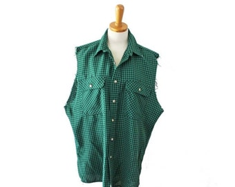 30% off sale // Vintage 80s Cut Off Sleeveless Lightweight Shirt Men XL // Green Black Plaid // Punk Grunge, Gander Mountain