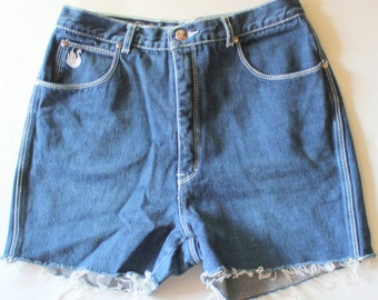 Vintage 80s Dark Blue Cut Off Jean Shorts // Women Small // Gloria Vanderbilt for Murjani