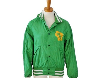 sale // Vintage 70s Green Wisconsin Beef Industries Snap Button Jacket - Men Small, Pla Jac by Dunbrooke