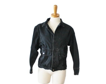 BLOWOUT 40% off sale Early 90s Calvin Klein Sport Petite Jean Jacket - Ladies Small - Black Denim