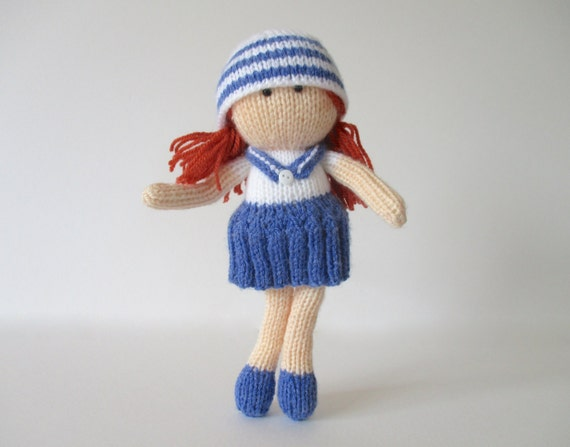 Knitting Pattern For Sailor Doll : Sally Sailor toy doll knitting patterns
