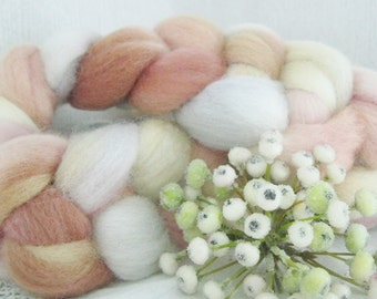 Hand dyed roving top for spinning felting crafting USA wool Sandy Beach