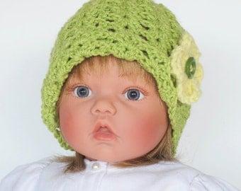 Toddler Girls Green Crocheted Cap
