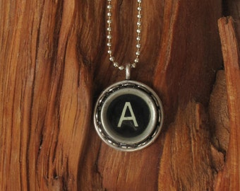 The Letter A Vintage Typewriter Key Pendant Necklace