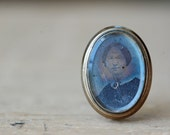 Antique Victorian hand tinted tintype portrait pin, ca. 1850s