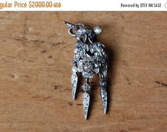SALE Victorian 1840s Naturalistic botanical pavé diamond floral pendant ∙ Antique old cut diamond pendant
