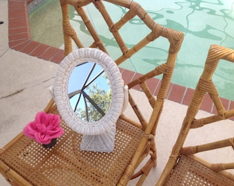 Vintage Wicker Mirror on Stand / Shabby Chic Cottage Mirror / Vintage Wicker Mirror / Cottage Style at Retro Daisy Girl