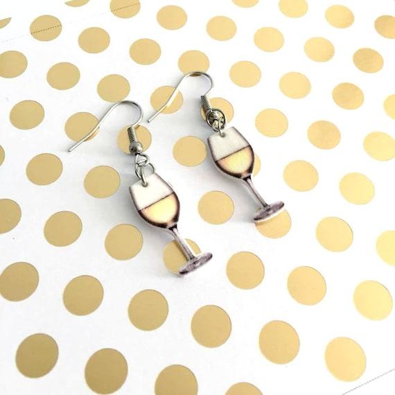White wine earring,  plastic, white, stainless hook, handmade, les perles rares
