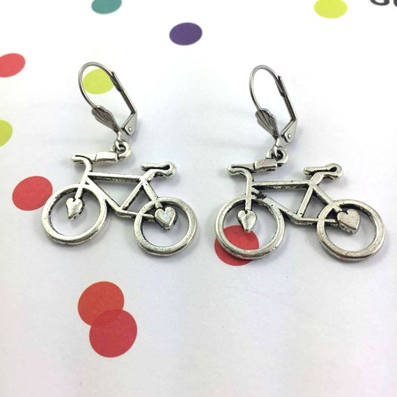 little bike, bicycle, silver metal earring charm on hypoallergenic stainless steal hook, les perles rares
