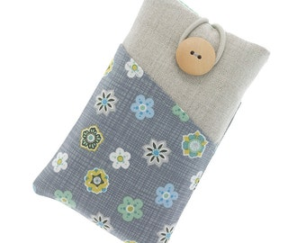 Floral iPhone 6 case, iPhone 6 Plus cover, fabric iPhone 6S pouch, iPhone 6S Plus linen case, iPhone SE sleeve, iPhone 5 case, grey/green