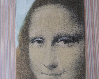 "vintage but modern hand painted ""Mona Lisa"" signed canvas hanging"