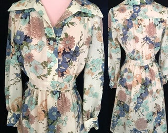 1960s 1970s Floral Dress - Long Sleeve Vintage Dress - Size Small