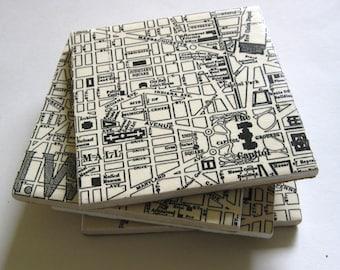 Coasters.  Map coasters.  Map of Washington, DC coasters.  Washington, DC.  Coaster set. Large coasters. Map of Washington, DC