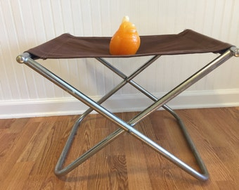 X Stool Bed Bench, Luggage Rack, Industrial Decor, Chrome and Brown Camp Stool, Mid Century Modern Folding Camp Stool at Modern Logic