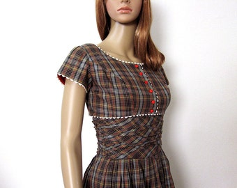 1950s Vintage Sundress and Bolero Jacket Brown Plaid Tie Top Full Skirt Dress / Extra Small