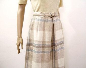 Vintage 1980s Pastel Plaid Skirt Wool Blend High Waist Inverted Pleat Skirt / Small