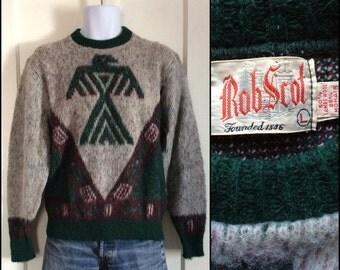 1950's Navajo Thunderbird Eagle Bird Fuzzy Mohair Wool Pullover Novelty Sweater size Large Rob Scot Gray Green Burgundy Grunge