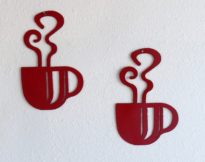 Coffee Cup Wall Art Pair Metal Wall Decoration Red