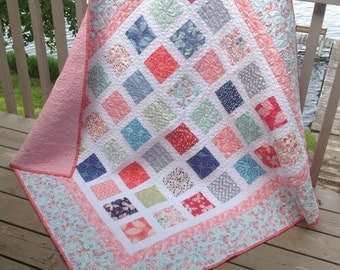 Simply ARIA 54x60 quilt in gentle pinks, blues and mint