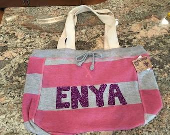 Stripe Monogram Gym Bag