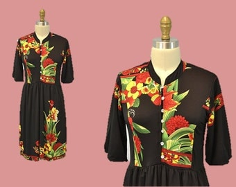 60s hipster dress HAWAIIAN tropical slouch dress 1960s vintage floral print black mini dress IngridIceland