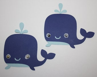 Set of 6 - Whale with Moustache Party Decor and Scrapbooking Embellishments