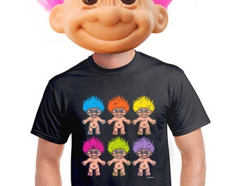 troll t-shirt, kitschy troll doll, geeky t-shirt, retro troll doll, toy troll, graphic tee, gift for nerd, fantasy fan, funny troll tee