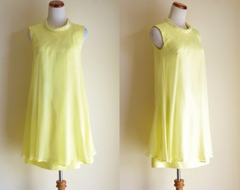 Vintage Chiffon Dress, 60s Dress, Mod Dress, Swing Dress, Yellow Chiffon Dress, Mock Turtleneck Dress, Beaded Dress, 1960s Dress, Small