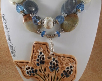 Cowgirl Necklace Set - Chunky Jasper and Coral with a Ceramic Bluebonnet TEXAS Pendant