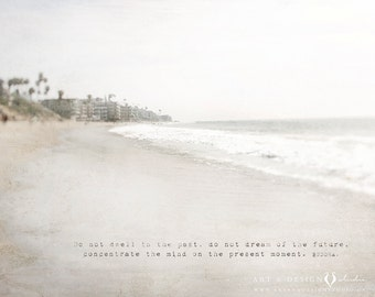 Wanderlust Print, Inspirational Wall Art, Beach Photography, Coastal Art, Buddah Quote Landscape Photography, California Dreamin', Photo