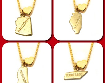 State Love Charm Necklace - 18 Inches