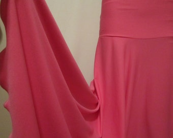"""Ladies Modest Bright Solid NEON PINK Polyester Spandex Stretch Knit Jersey Maxi Skirt for Missionary, Travel or Leisure, S/M, 38""""long"""