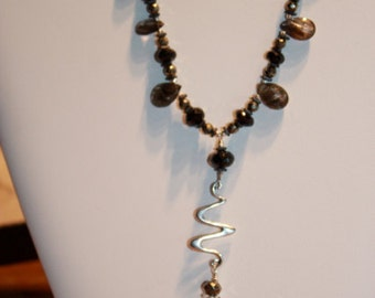 Midnight dreamer -Black spinel, pyrite and rutilated quartz necklace and earrings set by EvyDaywear, one of a kind only
