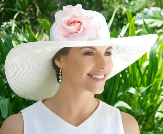 Wedding Hat, Kentucky Derby Hat, White Ivory Wide Brim Hat, Church Hat, Horse Race Hat, Formal Hat, Dressy Hat, Women's Elegant  Event Hat