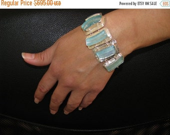 Stunning One Of A kind Hand Made Ancient Roman Glass 925 Silver Bluish Bracelet-Best Quality