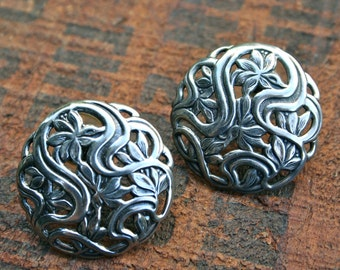 Vintage Sterling Silver Floral Art Nouveau Style Earrings