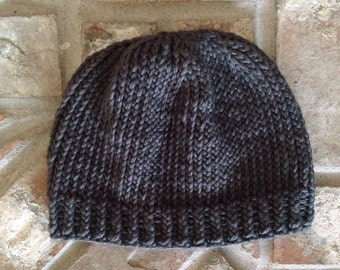 Knit Charcoal grey organic cotton baby hat