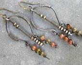 Portals. artisan dangle chandelier earrings rustic boho Unakite semi precious stones orange green beads wire work